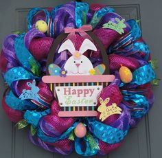 Easter wreath Spring wreath Easter Bunny wreath by EverWreath Spring Wreaths, Easter Wreaths, Holiday Wreaths, Holiday Crafts, Wreath Crafts, Diy Wreath, Wreath Making, Wreath Ideas, Easter Crafts