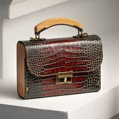 Purple Handbags, Purple Bags, Mini Handbags, Leather Cuffs, Leather Purses, Leather Bag, Black Leather, Leather Notepad, Wood Jewelry Display