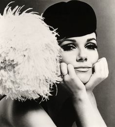 Velvet cap with ostrich feather pom-pom, 1965 -Photographer: John French