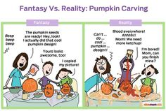 Reality: Pumpkin Carving With Kids Same goes with dying Easter eggs. Family Humor, Mom Humor, Parenting Humor, Kids And Parenting, Motherhood Funny, Good Comebacks, Funny Stuff, It's Funny, Funny Shit
