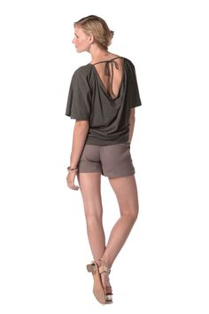 Cascading Dolman Top in Graphite