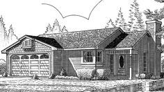 Country House Plan with 1060 Square Feet and 3 Bedrooms(s) from Dream Home Source | House Plan Code DHSW73341