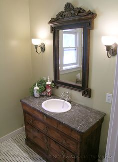 Bathroom remodel with antique dresser drawers converted into a vanity cabinet  in a South Pasadena bathroom