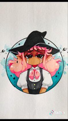 Art Drawings Sketches Simple, Cute Drawings, Girl Crying Drawing, Cry Drawing, Girl Hair Drawing, Pink Drawing, Witch Drawing, Drawing Eyes, Art Inspiration Drawing