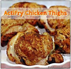 The Tefal Actifry can take the burden out of cooking, here chicken thighs form the base of a quick & nutritious meal - serve in a bun or with chips & salad!(Whole Chicken Fryer) Quick Recipes, Cooking Recipes, Cheap Recipes, Delicious Recipes, Keto Recipes, Soup Recipes, Healthy Recipes, Extremely Cheap Meals, Air Fryer Chicken Thighs