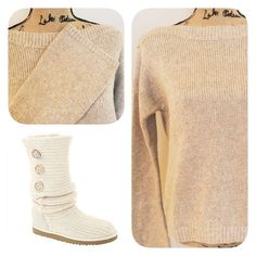 WHBM Flare Sleeve Sweater So cozy and Beautiful. This color goes with everything! Cream with a touch of Silver. Flare sleeves. Relaxed fit. New with Tags. White House Black Market Sweaters
