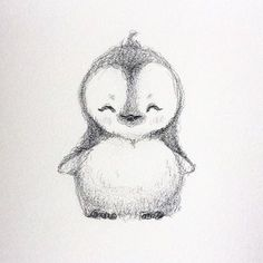 Haha decided to draw a little cute penguin #penguin #drawing #cute