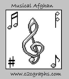 Musical Afghan C2C Graph & Written Word Chart
