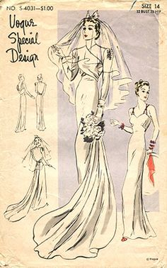 1930s Vogue Wedding Dress Pattern This is the pattern my grandmother used for her wedding dress in the 30s, which I wore in 1979. Would love to find the pattern!