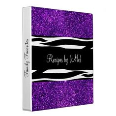 Personalized Purple Glitter Zebra Striped Recipe Binders Personalized Purple Glitter Zebra Striped Recipe Cookbook #personalized #purple #glitter #glittery #zebra #striped #black #and #white #recipe #cookbook #binder...