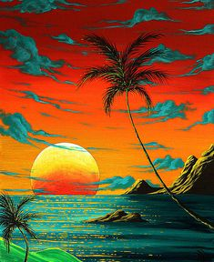 Abstract Surreal Tropical Coastal Art Original Painting Tropical Burn By Madart