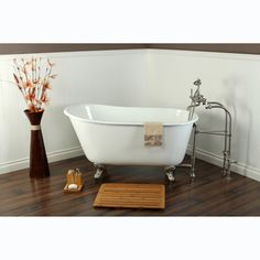 @Overstock.com - Slipper Cast Iron 53-inch Clawfoot Bathtub - This cast-iron clawfoot tub retains heat better than most other materials to ensure your bath stays warm and relaxing. Thanks to its heavy, sturdy construction, this tub cuts down on the amount of vibrations you will feel while you bathe in luxury.  http://www.overstock.com/Home-Garden/Slipper-Cast-Iron-53-inch-Clawfoot-Bathtub/7784216/product.html?CID=214117 $1,281.99