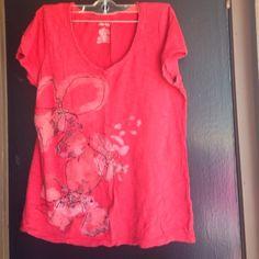 Red shirt With flower design St. John's Bay Tops Tees - Short Sleeve