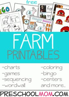 Use our farm printables for a fun thematic unit in your preschool classroom. Children love to learn all about animals and these resources will help you round out your lesson.  Consider planning a f…