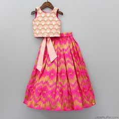 Pre orders can not be returned/exchanged Peach top with pink lehenga Lehenga with pink and gold geometric design Sleeveless top with embroidery on all over Top Girls Frock Design, Kids Frocks Design, Baby Frocks Designs, Baby Dress Design, Kids Dress Wear, Kids Gown, Kids Wear, Baby Girl Party Dresses, Dresses Kids Girl