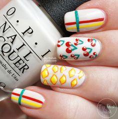 Weird Lemons, Okay Cherries #nailart #nageldesign #acrylicpaint