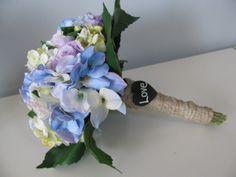 Bridal Bouquet Silk Hydrangeas Roses Lavender by astylishdesign, $40.00