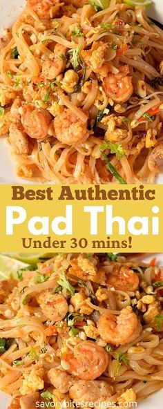Try this best,spicy,simple and easy authentic pad thai recipe,with vegetables,shrimp,eggs and chicken,with easy authentic pad thai sauce.This recipe of homemade thai food is the best and better than any restaurant or takeout menu.The best pad thai noodles you can try at home. #savorybitesrecipes #padthairecipe #thaifood #padthainoodles #shrimp #chicken #ricenoodles #padthaisauce #dinnerrecipes #easyrecipes Tai Food Recipes, Easy Thai Recipes, Indian Food Recipes, Asian Recipes, Cooking Recipes, Ramen Recipes, Dishes Recipes, Chinese Recipes, Recipes