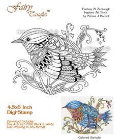 Bluebird One Fairy Tangles Printable Digi Stamps By FairyTangleArt
