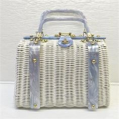 OnlineAntiques - 1950s White wicker and blue lucite purse