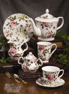 Royal Patrician Nicolette Chintz Tea Set ~ From the Royal Patrician Dynasty Collection: Features pink & white English roses scattered over white bone china.