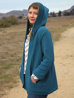 Knitting pattern for Wanderlust Cardigan sweater featuring pockets and hood To fit: Woman's S through 2XL. tba hoodie affiliate link