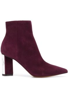 Chevre purple suede Katia ankle boots from Clergerie featuring an ankle length, a pointed toe, a side zip fastening, a leather sole and a chunky high heel with a silver-toned cap. Chunky High Heels, Purple Suede, Feminine Style, Brogues, Ankle Length, Classic Style, Autumn Fashion, Ankle Boots, Women Wear