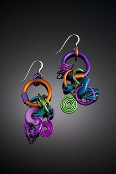 Anodized Aluminum Large Funky Earrings