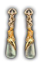Magerit - Atlantis Collection: Earrings Sirena Ola SO 1576.1 Yellow Gold 18KT, Diamonds and Green Quarz #Magerit #MageritJoyas #AtlantisCollection