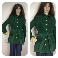 Vintage  70s suede coat ,1970s green suede jacket Military  Buttons, Vintage Green Suede Spring CoAt, Mod 60s  70s Green Suede Jacket, by 3GenerationCuration on Etsy Vintage Green, Vintage 70s, Green Suede Jacket, Coat Sale, Suede Coat, Denim Coat, Modern Outfits, Hunter Green, Military Fashion