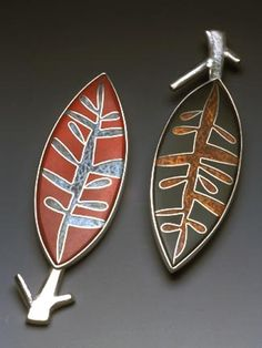 Pamela Argentieri Twin Brooches Red & Green, 2003 Cloisonné enamel, sterling & fine silver, 24k gold foil. 3.5 x 1 x .25 inches