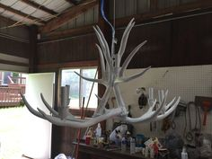 Antler chandelier in Matte white by BreedloveDesigns on Etsy