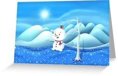 'Snowbaby on Sparkling Ice' Greeting Card by We ~ Ivy Art Prints For Home, Presents For Friends, My Themes, Website Themes, Good Cause, Sparkling Ice, Art Boards, Ivy, Snowman