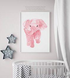 Akwarela dama Drukuj dziewczynka ilustracja kolorowy minimaliste plakat pokój różowy sztuka słoń ściana