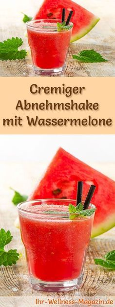 Abnehmshake mit Wassermelone, mit oder ohne Eiweiß und weitere leckere Abnehmsh… Slimming shake with watermelon, with or without egg whites and other tasty slimming shakes, protein shakes & smoothies to make yourself … Best Smoothie, Smoothie Detox, Smoothie Drinks, Smoothie Recipes, Smoothie Mixer, Milkshake Recipes, Watermelon Smoothies, Healthy Smoothies, Healthy Drinks