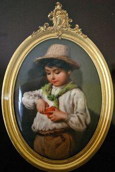 KPM Porcelain Plaque Boy Eating an Apple, circ 1880-90