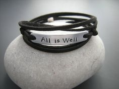 All is well Inspirational bracelet, Positive Women Wrap bracelet, Personalize it with your quote bracelet, motivational bracelet by PawlowskiCreations on Etsy Simple Bracelets, Bracelets For Men, Gifts For Him, Gifts For Women, Washer Bracelet, Bracelet Quotes, Boyfriend Gifts, Stay Strong, Boyfriend Bracelet