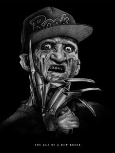 Buy Krueger by Joe King Print- Freddy Krueger wearing a ROOK hat creepily looks at the viewer with claws raised. Rare special limited edition out of production art print.
