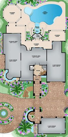 Luxury Plan: 8,364 Square Feet, 6 Bedrooms, 6 Bathrooms - 1018-00254 House Plans Mansion, Luxury House Plans, Craftsman House Plans, Dream House Plans, Modern House Plans, House Floor Plans, The Plan, How To Plan, Mediterranean House Plans