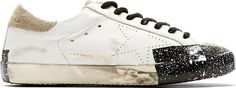 Golden Goose White Spattered & Taped Superstar Sneakers - $312