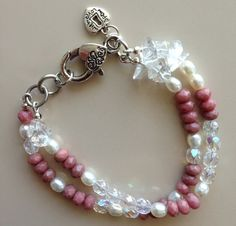 Dusty Pink Faceted Coral Freshwater Pearls by MAGICALUNIVERSE, $55.00
