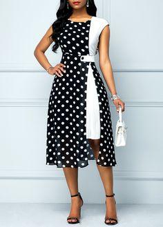 High Waist Polka Dot Print Black Dress Source by rainbigger fashion Short African Dresses, Latest African Fashion Dresses, Women's Fashion Dresses, Stylish Dresses, Elegant Dresses, Casual Dresses, Lace Dress Styles, Look Fashion, Jeans Fashion