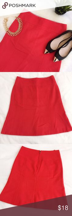 "J. Crew wool blend tulip hem coral skirt size 2 EUC no flaws, just a little wrinkled from being folded. Fully lined. Color looks red in the photos but it's really more of a deep coral. Hip hugging with a slight tulip at the bottom. Waist measures 14 1/2"", hip 18"", length 21 1/2"".  Knee length. Offers welcome! J. Crew Skirts Midi"