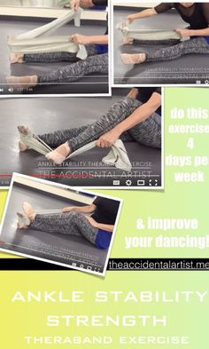 """Check out a great Ankle strength video! Click on pic for the full post :) I call this the """"mother of all theraband"""" exercises  This theraband exercise was the first one that l learned back in 1980! I was dancing professionally then and developed an injury after a holiday break. Part of my therapy was this exercise that I still do today.  Check out my ankle strength video below"""
