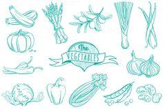 25 Outline hand drawn vegetable set ~ Illustrations on Creative Market