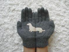 Dog Gloves Doxie Gloves Dachshund Steel Grey Gloves by yastikizi, $38.00