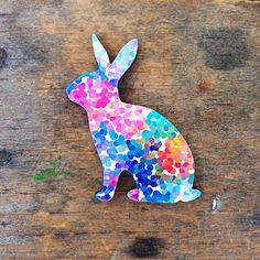 Bright Speckle Rabbit  Paper Overlay Wooden Laser Cut by EachToOwn