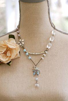 vintage assemblage old rhinestone flower beaded necklace
