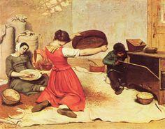 Gustave Courbet.  Die Kornsieberinnen.1855, Öl auf Leinwand, 131 × 167cm.Nantes, Musée des Beaux-Arts.Genremalerei.Frankreich.Realismus.  KO 00194