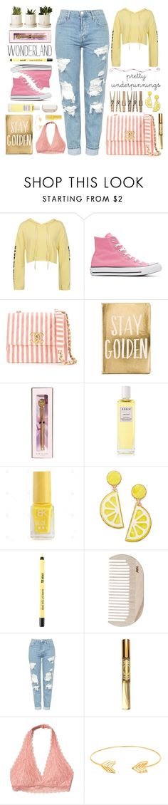 """""""#526 Lemonade"""" by mayblooms ❤ liked on Polyvore featuring Sans Souci, Converse, Chanel, Ted Baker, Rodin, Celebrate Shop, HAY, Topshop, Angela Flanders and Hollister Co."""